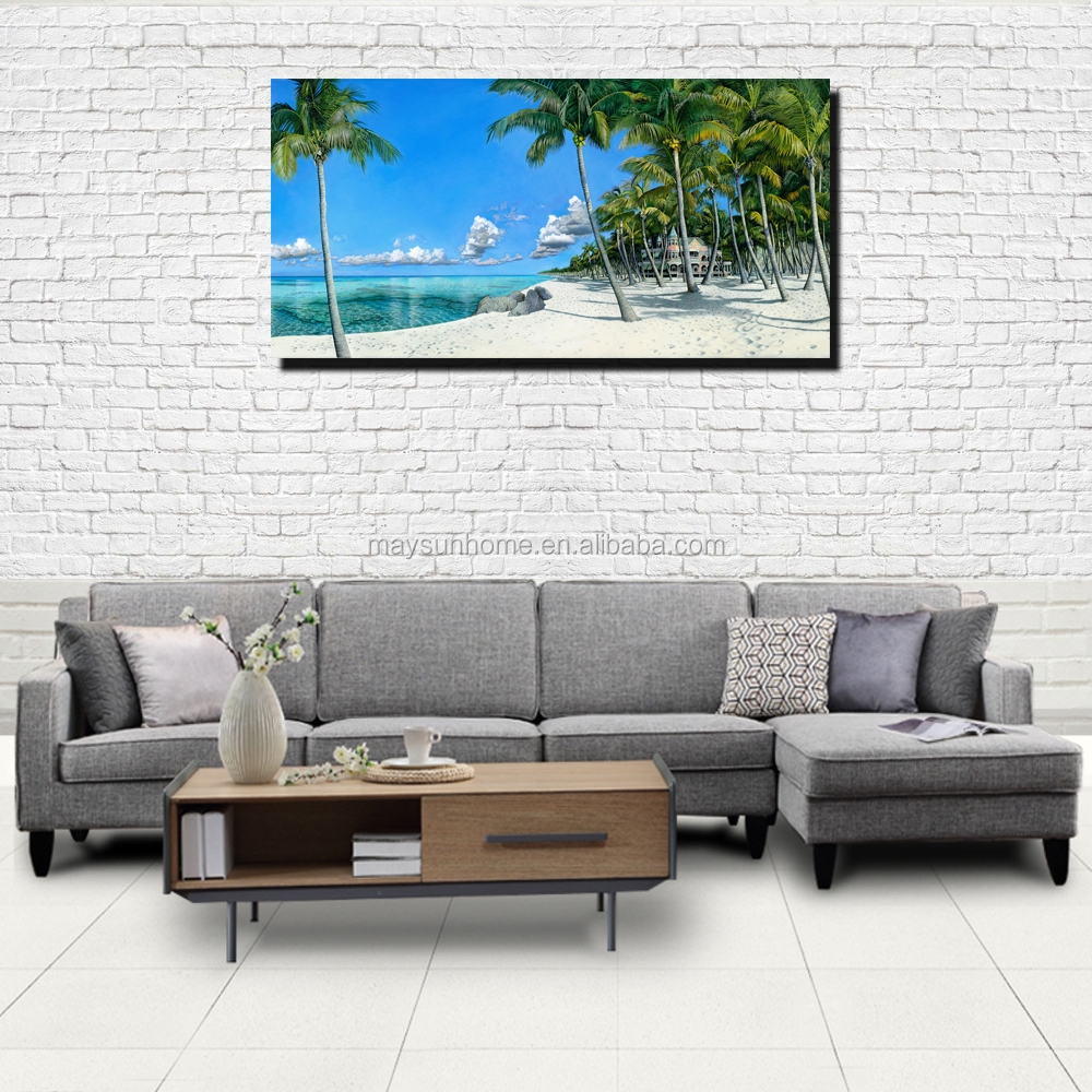 China wholesale palm beach picture canvas painting wall decor