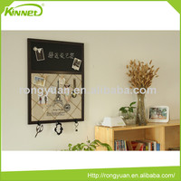 Magnetic black metal sheet and hemp rope combo mdf wall decorative boards