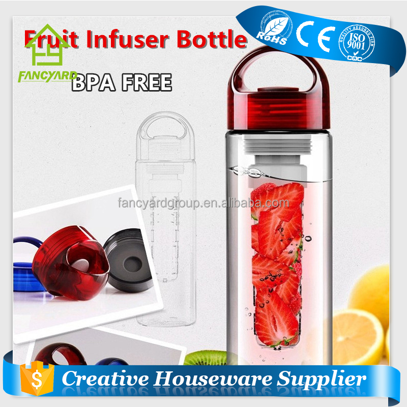 FY1100 Drinking Bottle / BPA Free 700ml 24oz Plastic Fruit Infuser Water Bottle