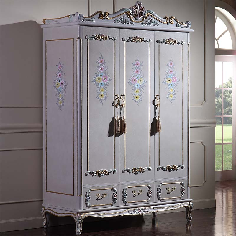 royal luxury bedroom furniture - hand carving solid wood baroque wardrobe