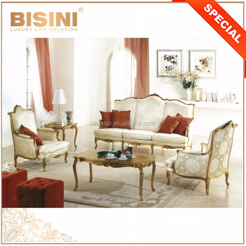 Early French Concise Style Silky Printed Recliner Fabric Sofa Set for Living Room