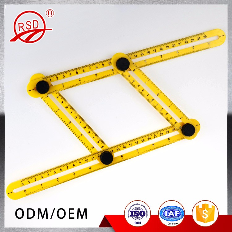 Guangzhou Tool Manufacturer Wholesale 25cm Plastic Four Folding Sliding Angle Ruler