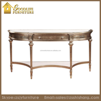 Wooden Shabby Chic Gold Leaf Antique Console Table for Living Room