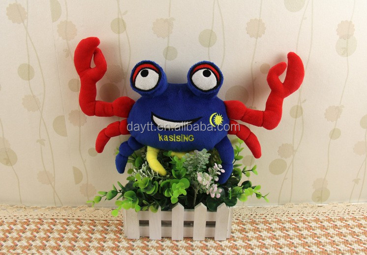 "Malaysia government customization made 12"" stffued sea animal colorful crab visualization plush toy"