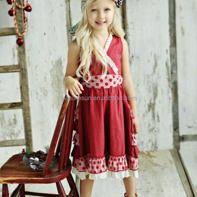 kids wear baby clothing red sleeveless boutique christmas dress for baby girls