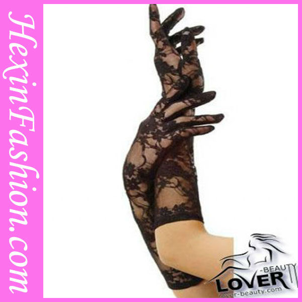 Wholesale Black Elegant Lame Opera Length Leather Hand Gloves