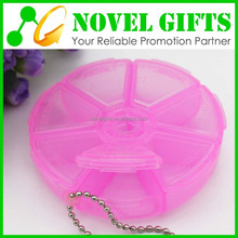 Cheap OEM Round Weekly Pill Box Container with Key Chain