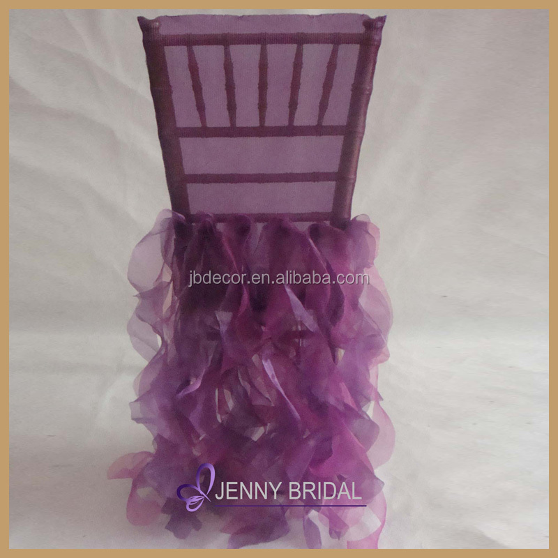 C009AB new designs purple and burgundy organza fabric wedding chair seat cover
