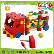 Wooden Handcrafted Pretend Play Toys Hammer Knock Ball Wooden Truck Toy