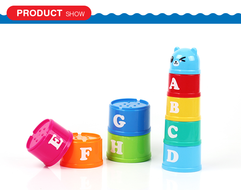 Wholesale educational toys colorful cartoon style plastic baby stacking cups with 9pcs