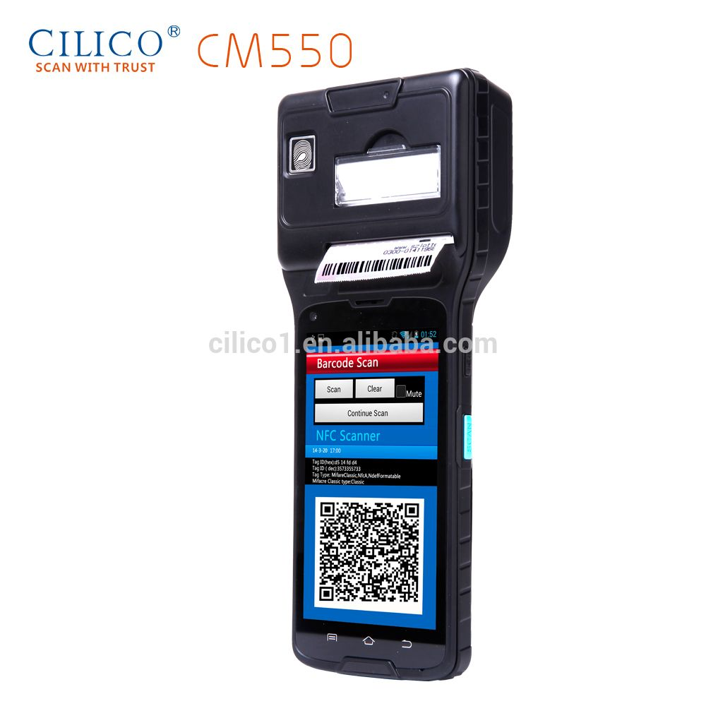 pda phone IP65 big screen Bluetooth Android os ID 2D thermal printer and scanner price touch screen handheld pda barcode scanne