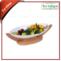 2016 nature bamboo fruit tray with ceramic plate