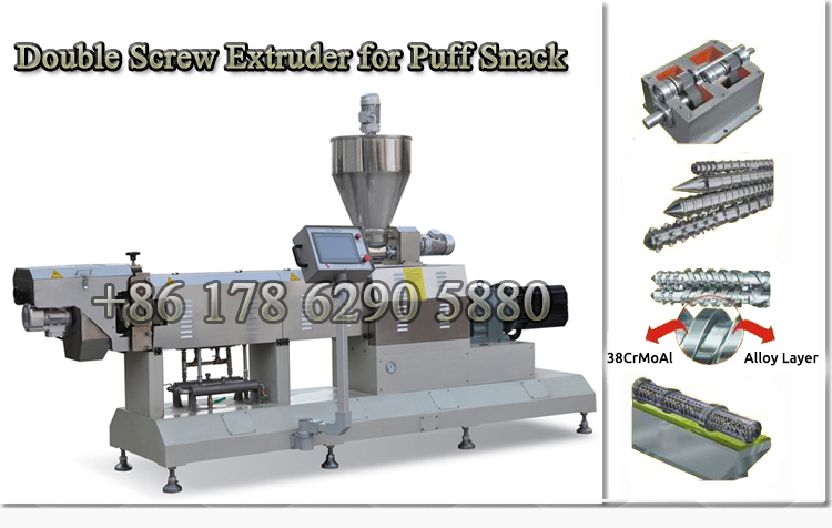 China Breakfast Cereal Twin Screw Extruder Puffing Food Snacks Making Machine