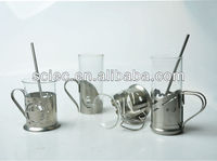 Clear wholesale glass tea drinking handle cups with metal holder