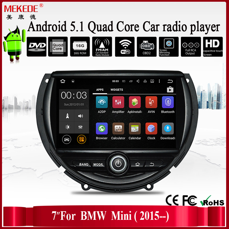 For 7 inch android BMW mini car dvd player with quad core built-in wifi 3g ipod bluetooth car multimedia system