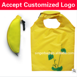 Custom gift ideas banana style green polyester folding shopping bag