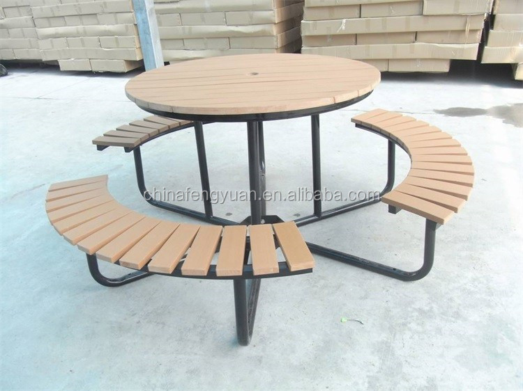 Outdoor Plastic Wood Table Set ,Camping Picnic Table and Chair Set, 5 Years Warranty Outdoor Table