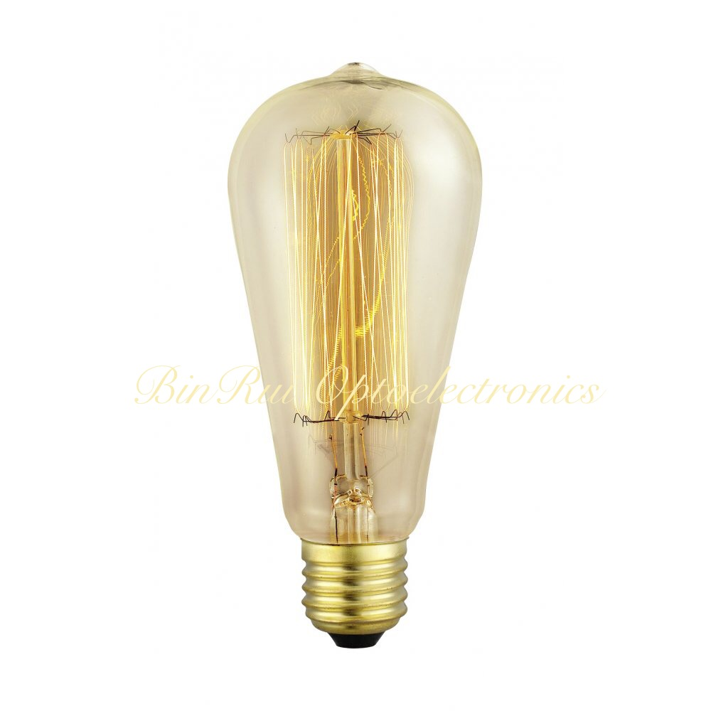 ST64 Amber color Vintage Filament Squirrel Cage Edison Bulb