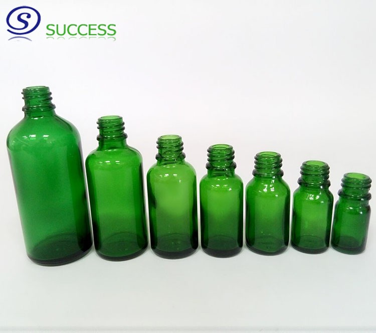Green Glass Essential Oil Bottle with Aluminum Dropper