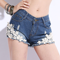 # 7740 new summer influx of women in Europe and America lace denim shorts sexy nightclub ladies big yards was thin trade