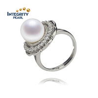 Sterling silver ring 10.5-11mm AA near round 925 silver pearl ring