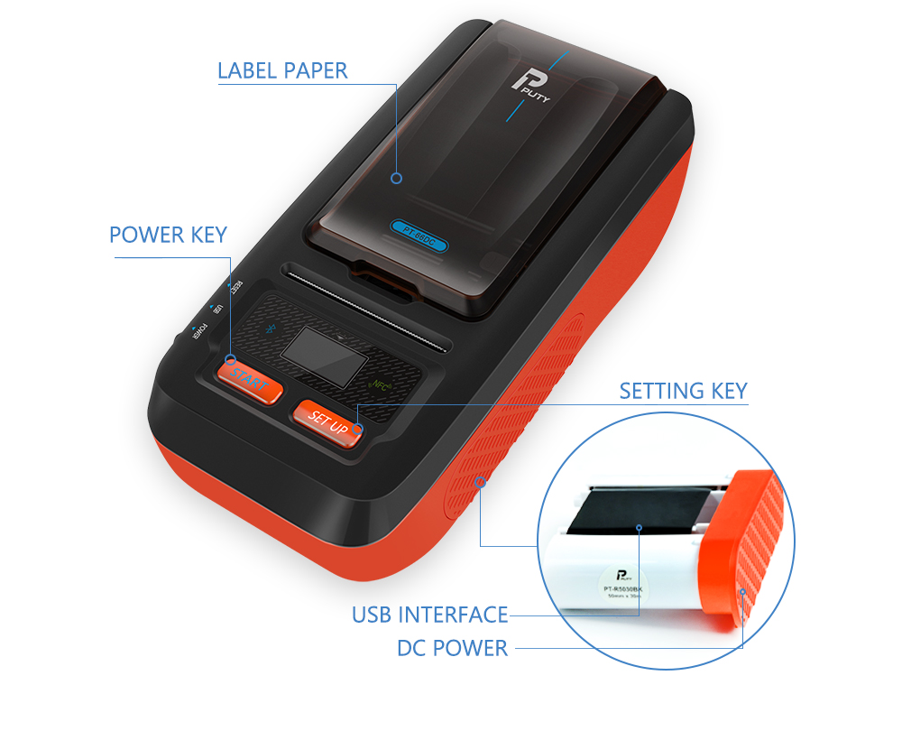 PUTY mini barcode bluetooth android IOS printer price tag label and barcode printer PT-66DC