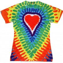 Womens Sublimation Shirt Red Heart Rainbow Tie Dye T-Shirt