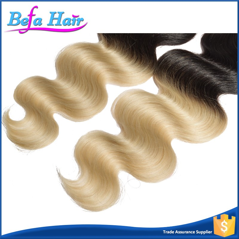 Wholesale cheap no shedding ombre colored hair weave 1b/613