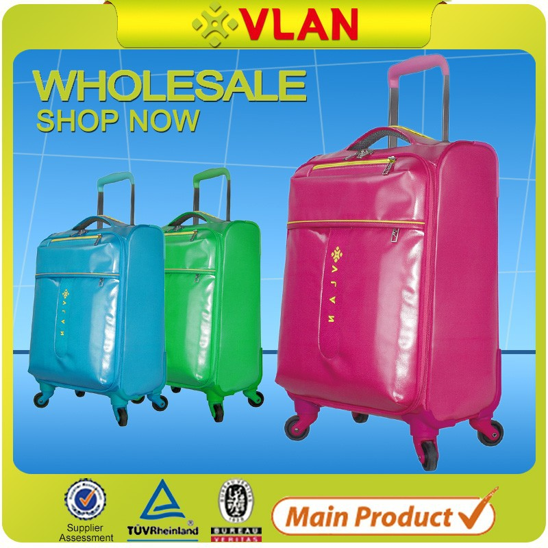 2016 fashion 4-wheels soft pvc polo urban trolley luggage set manufacturer in guangzhou