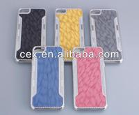 Light Blue Plastic Case +Aluminum Metal Skin PC Matting Grain Cover For iPhone5G