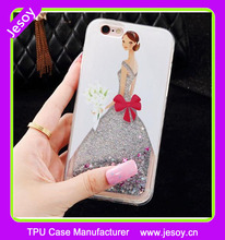 JESOY 2017 Hot Stars Liquid Glitter Quicksand 3D Bling for iPhone 6 6s Cute Girl Wedding Case Cover