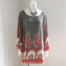 UK bohemia style ethnic printed round neck oversize cotton shirt puff long sleeve fashion casual ladies top