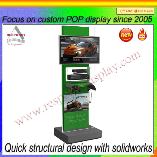 new wooden advertising lcd video display stand for car audio