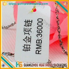 PVC Material and waterproof, Printed or blank Feature plastic label tag,jewelry price label