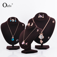 Oirlv China OEM coffee ice velvet Necklace ring earrings Jewellery Display figurines stand MDF wood mannequin jewelry holder