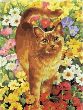 Wholesale 2.5cm frame yellow cats animal diy oil paint by number on canvas From painting factory with 3ml 5ml vacuum acrylic