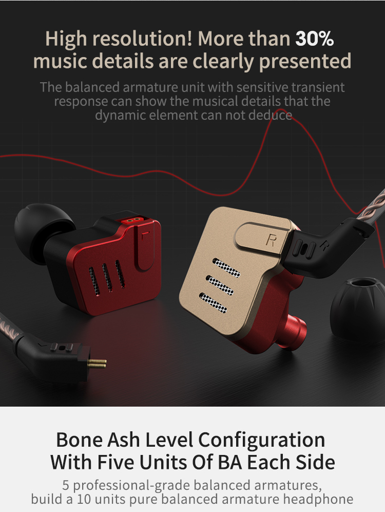 KZ BA10 In-Ear Headphones Earphone Five Unit Balanced Armature Metal Earphone with 0.75mm 2 Pins Detachable Cable