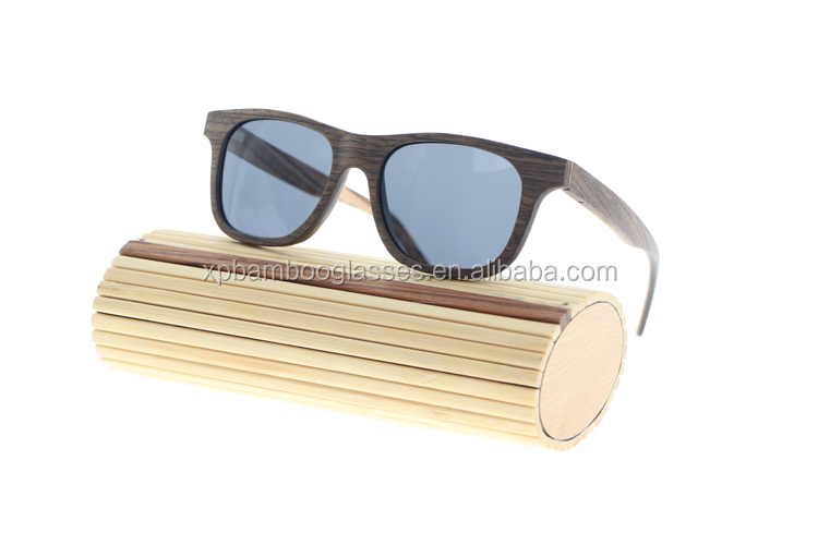 OEM Eco friendly Zebra Wooden Sunglases With Blue Mirror Polarized Lens