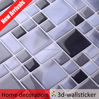Self adhesive kitchen decor txtured 3D wall tiles peel stick mosaic wall sticker