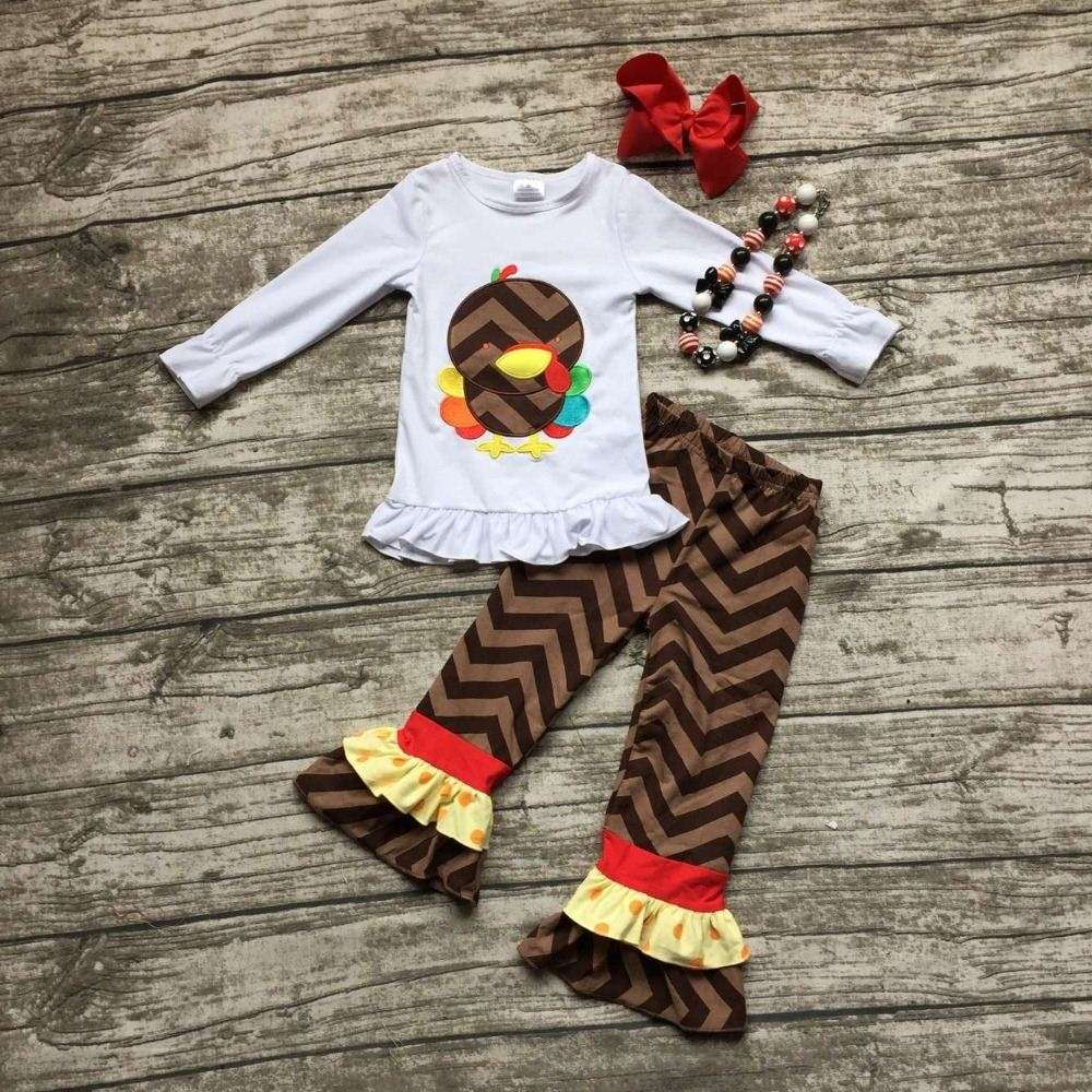 girl boutique clothes thanksgiving outfit kids Fall girls thanksgiving pant sets children turkey clothing with accessoreis