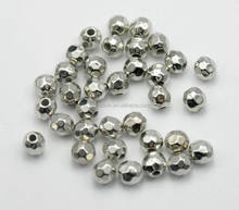 Custom Factory Price Shiny Antique Silver Plated Acrylic Beads 4mm