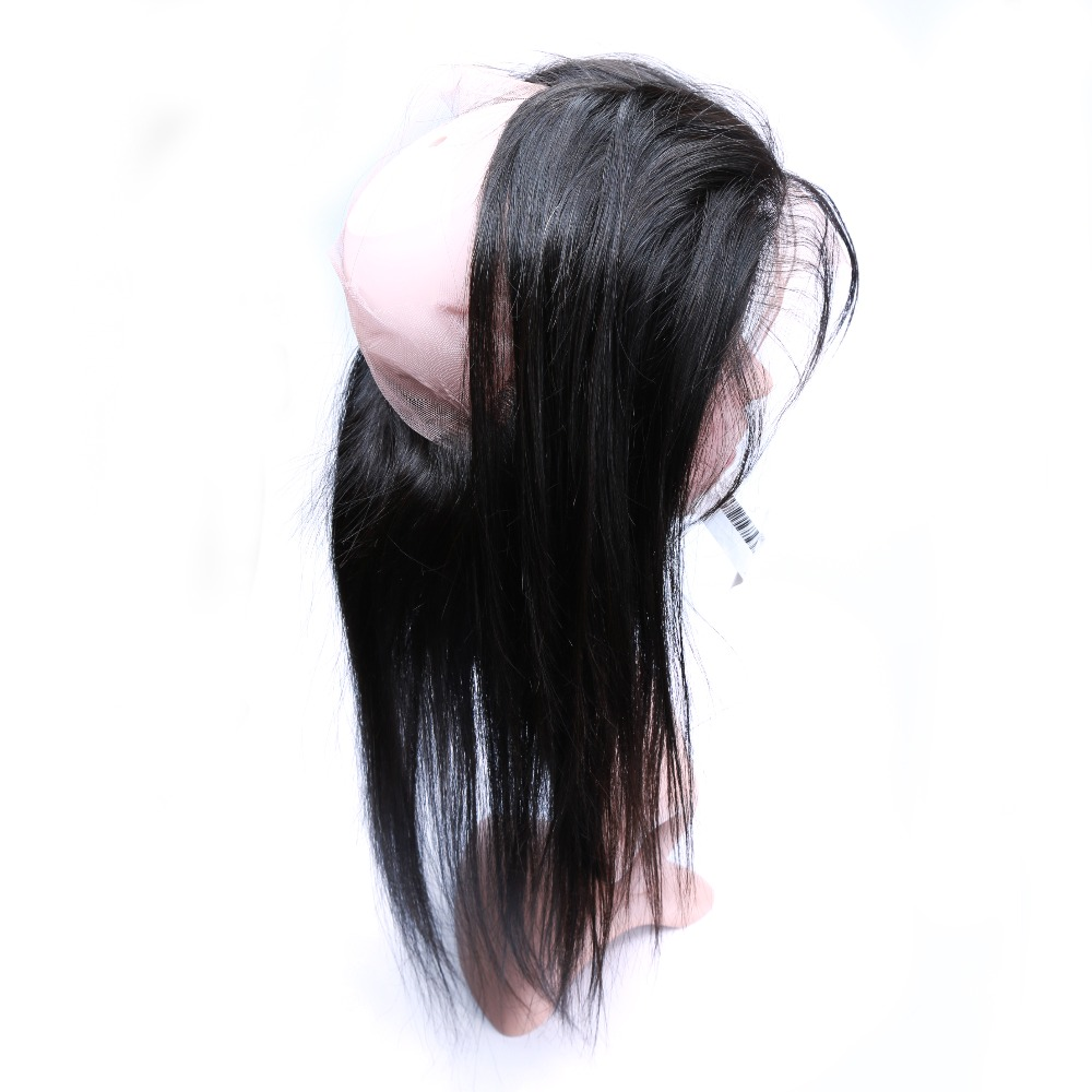 JP Cheap Human Hair Natural Black Color 360 Lace Front Closure In Brazil