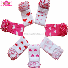 In Stock! Fashion Valentines Day Baby Ruffle Leg Warmer Pink Red Heart Pattern Baby Girls Valentines Leg warmers