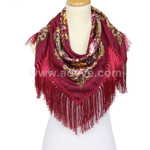 2018 new winter cotton squares tassel thickening printed scarf Europe and Russian lady shawl