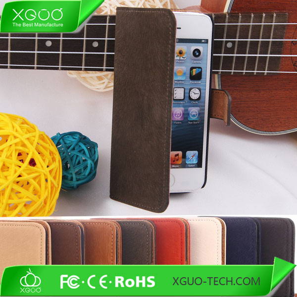 pu leather for iphone 5c stand case, card slots cover for iphone 5c stand case