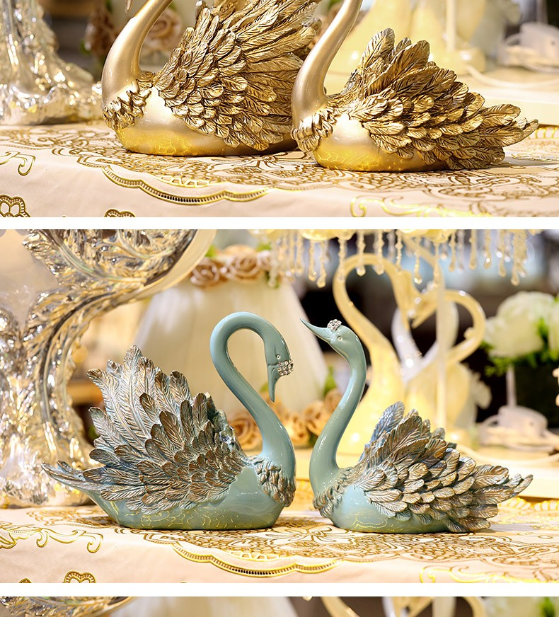 Bedroom Decorative Resin Creat Couple Swans Wedding Gift