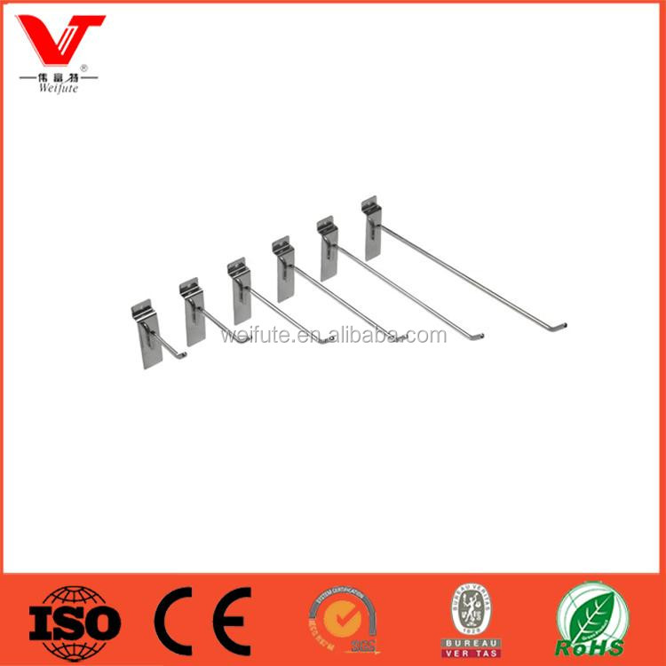 Customized metal Single prong chroming slatwall hooks for slatwall panel and display