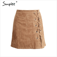 Simplee Bodycon Lace Up Cross Suede Leather Mini Skirt for Casual Outerwear