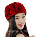 CX-E-37M Women Knitted Real Rex Rabbit Fur Neck Warmer Elastic Headband
