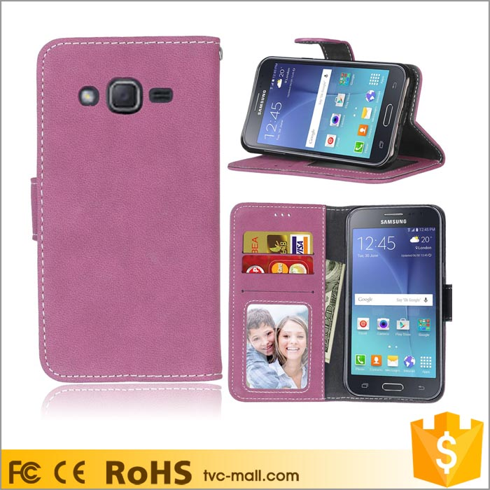 Retro Style Matte PU Leather Wallet Mobile Case Back Cover for Samsung Galaxy J2